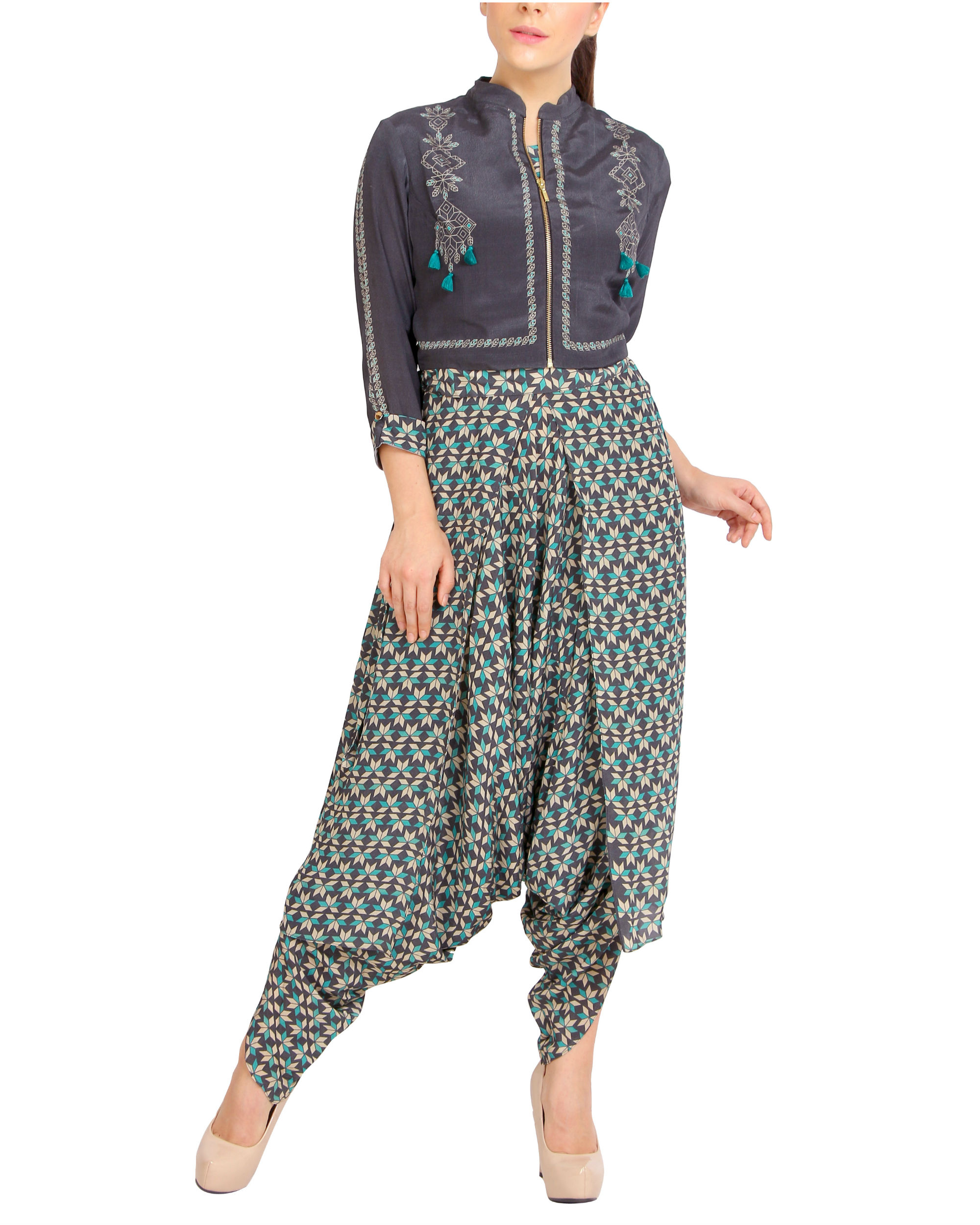 Printed dhoti jumpsuit with a zipper jacket
