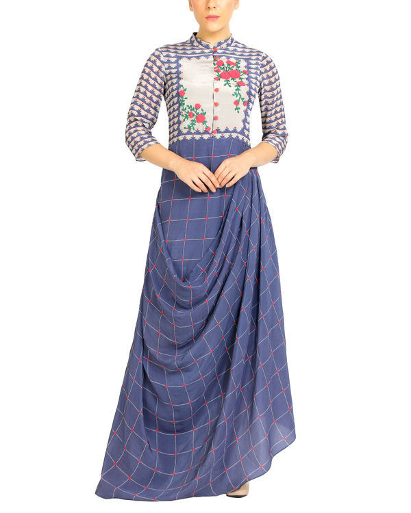 Mogra embroidered checkered dress