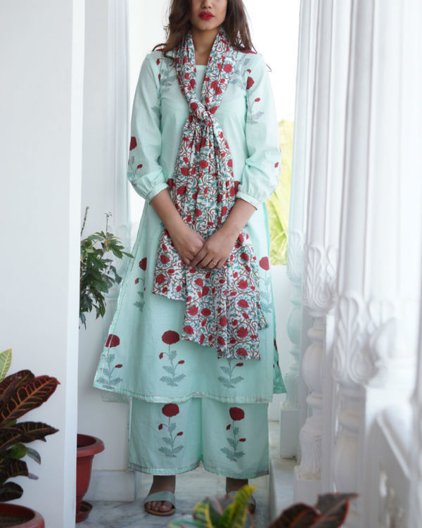 Sea green kurta palazzo set with dupatta