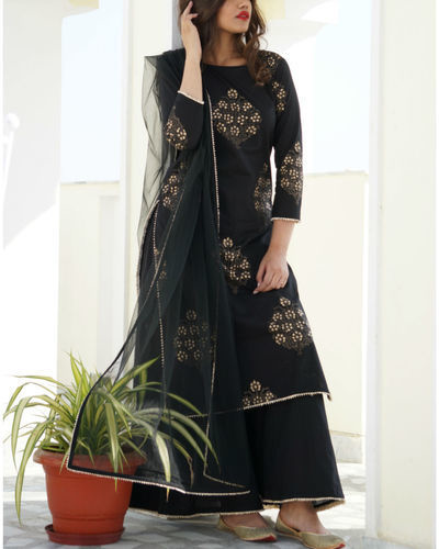Black Gold Print Kurta Sharara Set With Dupatta