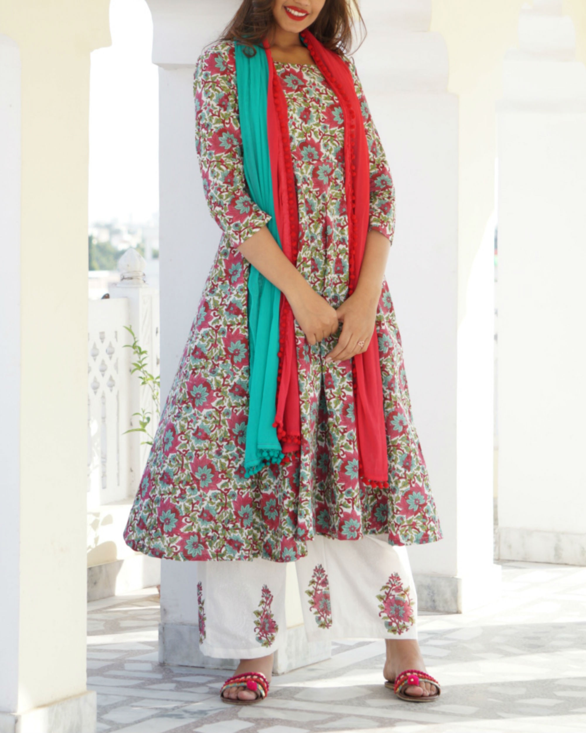 Pink floral anarkali with block printed palazzo and dupatta