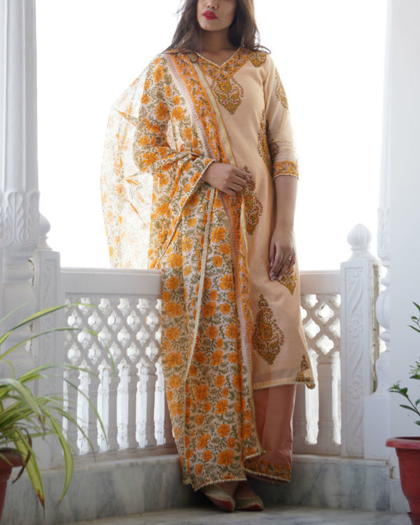 Peach chanderi set