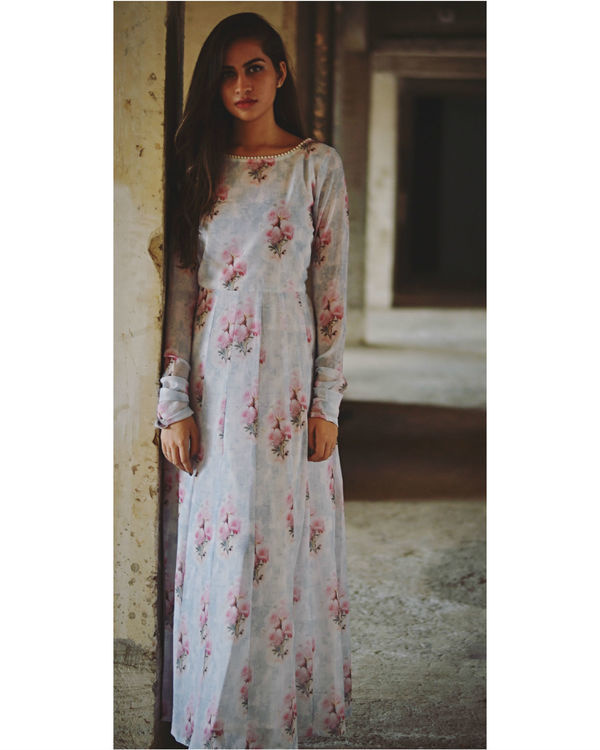 Pale grey and pink floral maxi dress