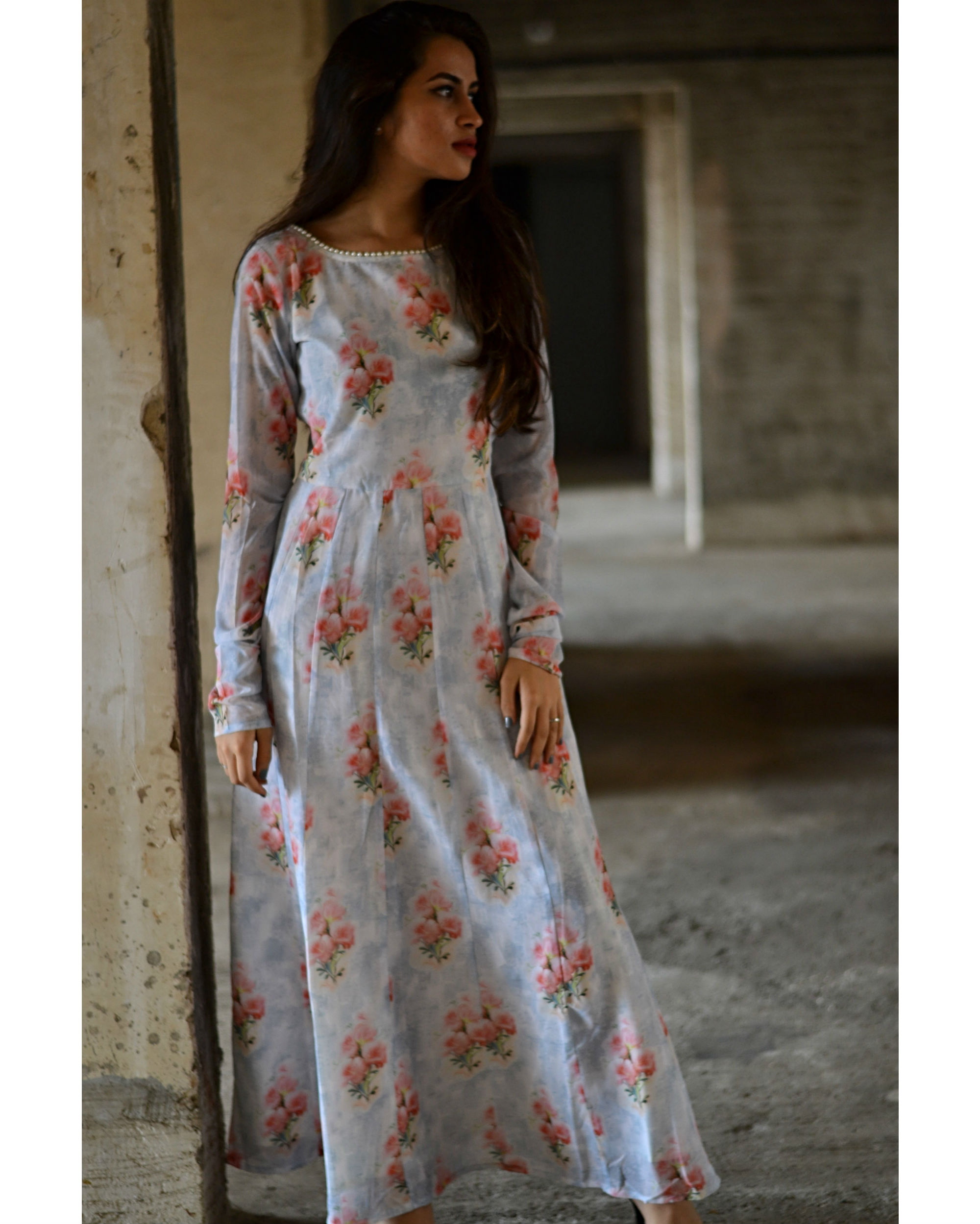 Pale grey and red floral maxi dress