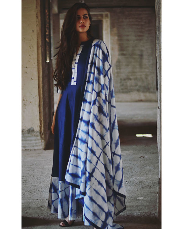 Indigo tie and dye dress with dupatta