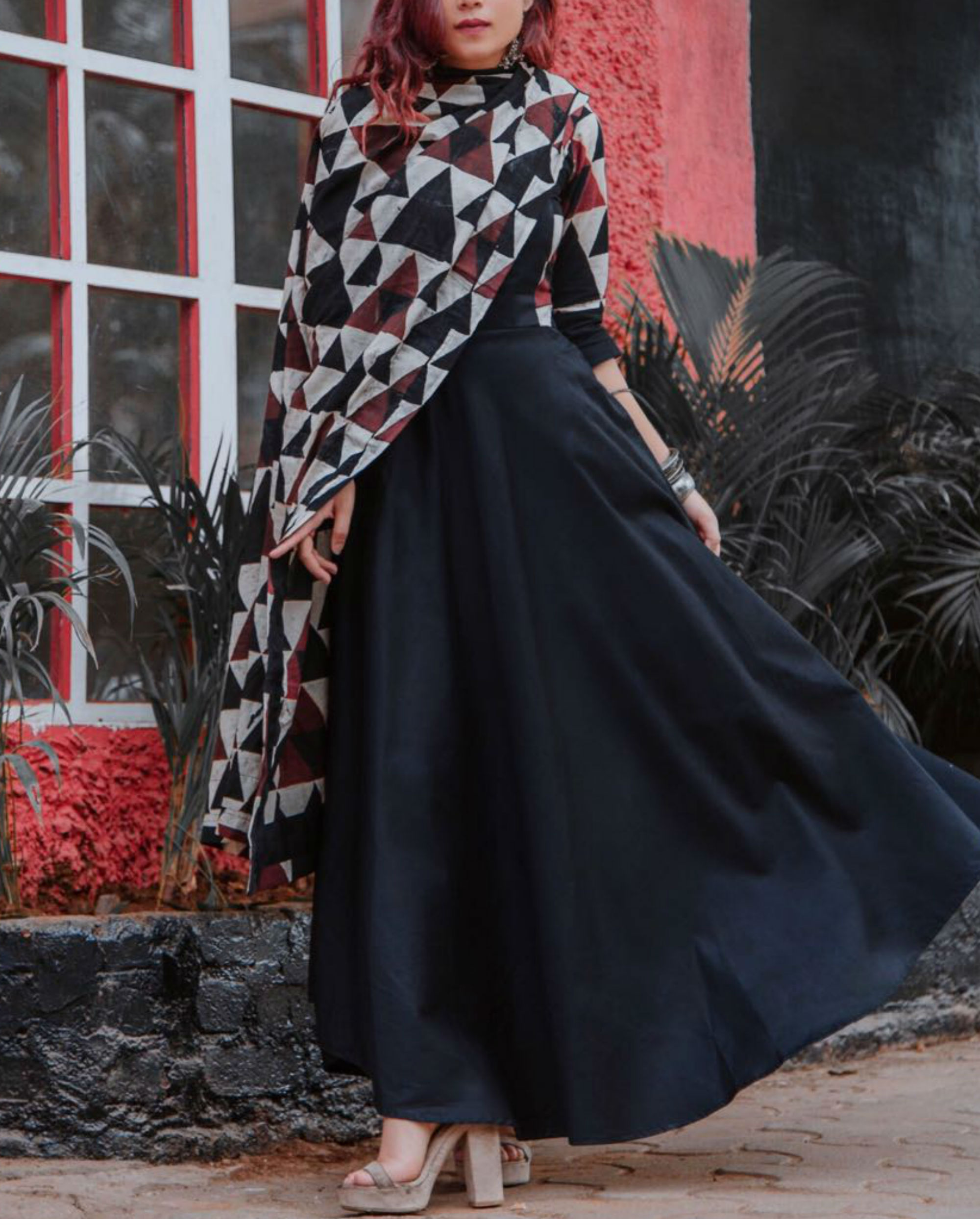 Black triangle print dress with dupatta