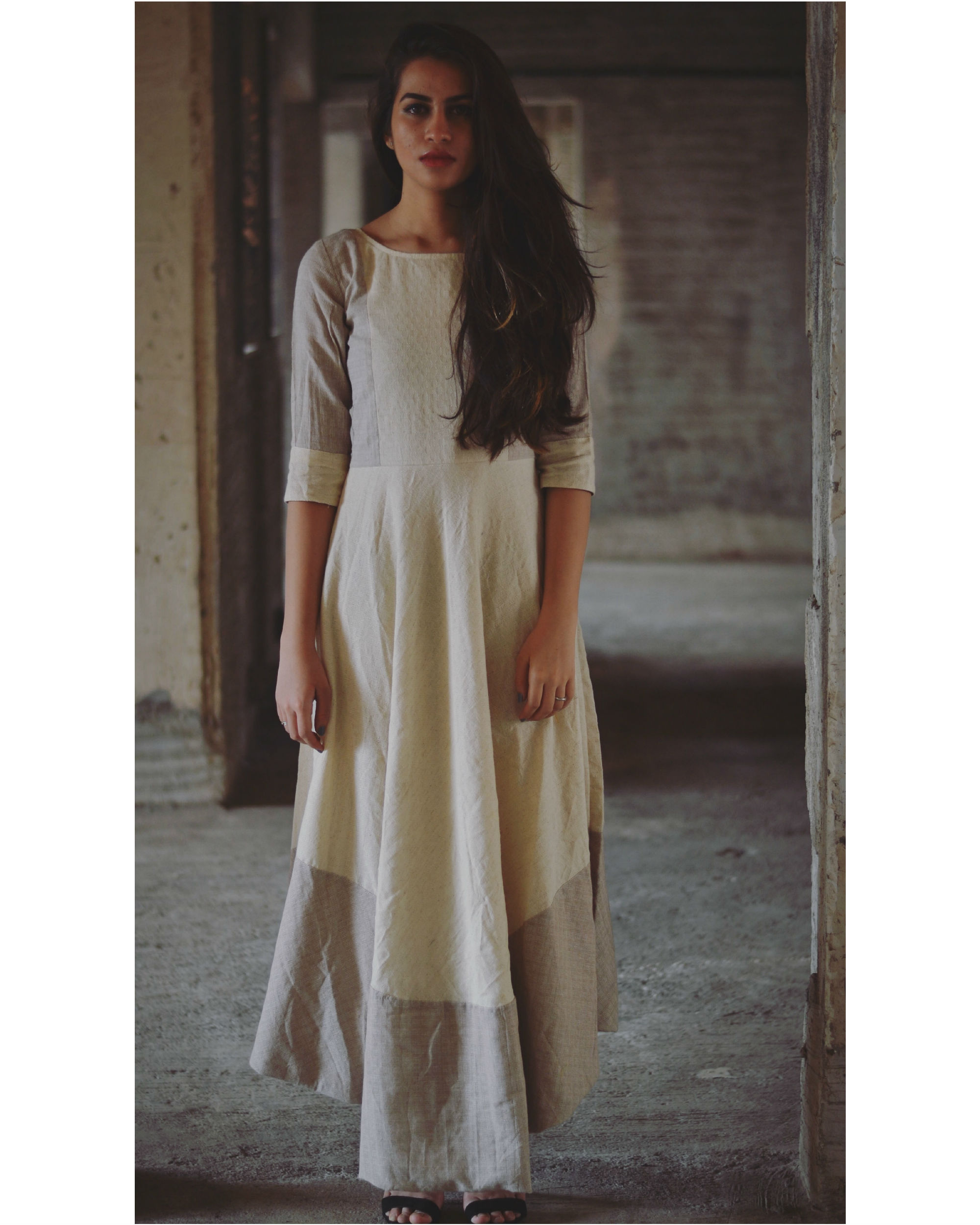 Pearl grey and beige asymmetrical dress