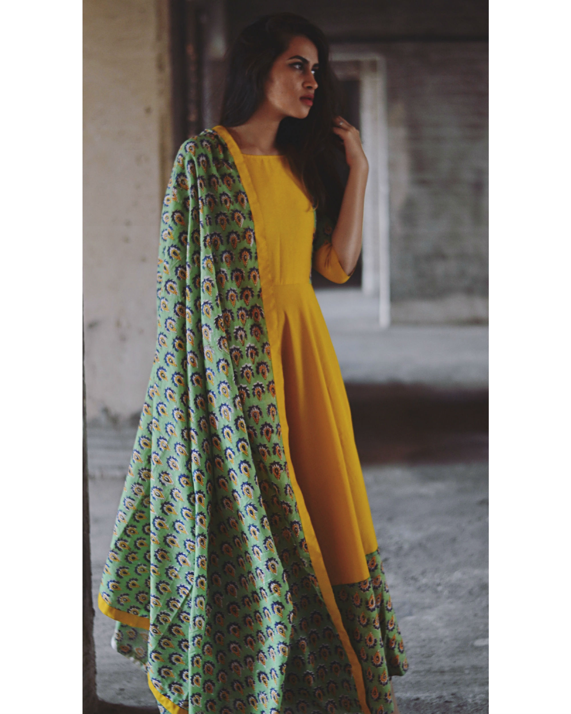 153af3c0e778a Yellow and green flower dress with dupatta by Tie & Dye Tale | The Secret  Label