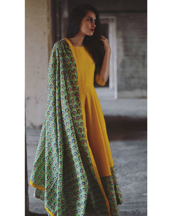 Yellow and green flower dress with dupatta