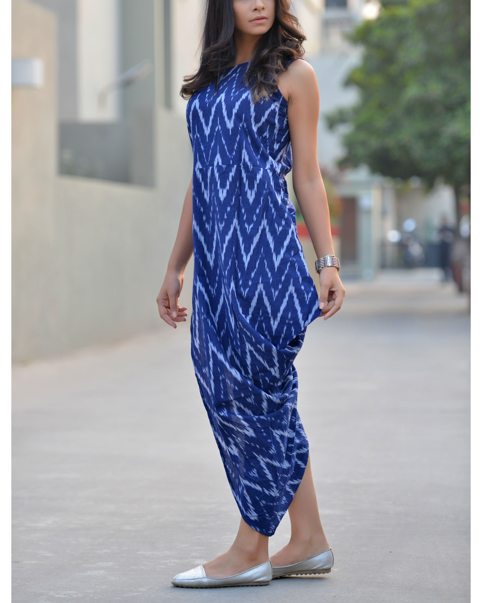 Prismatic ikat v-dress