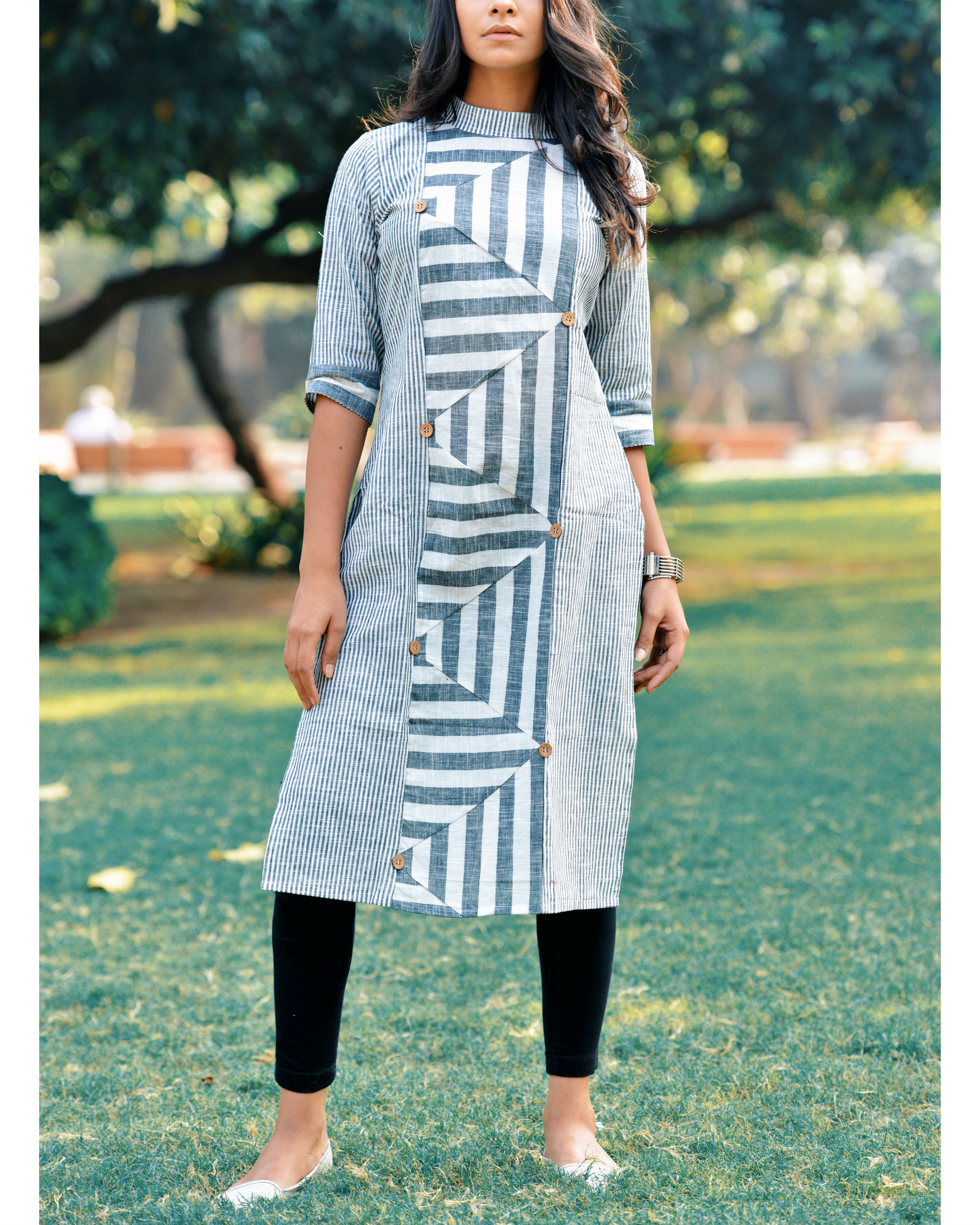 White khadi triangle kurta