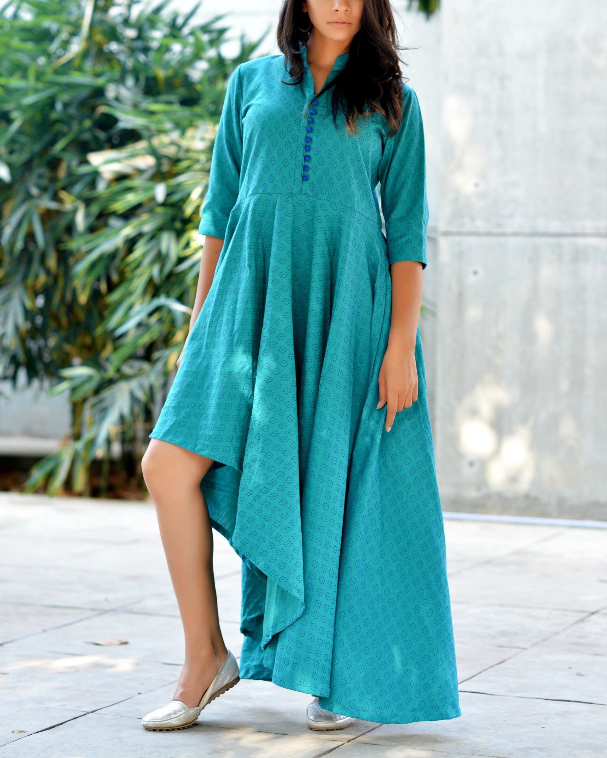 Teal high low flare kurta