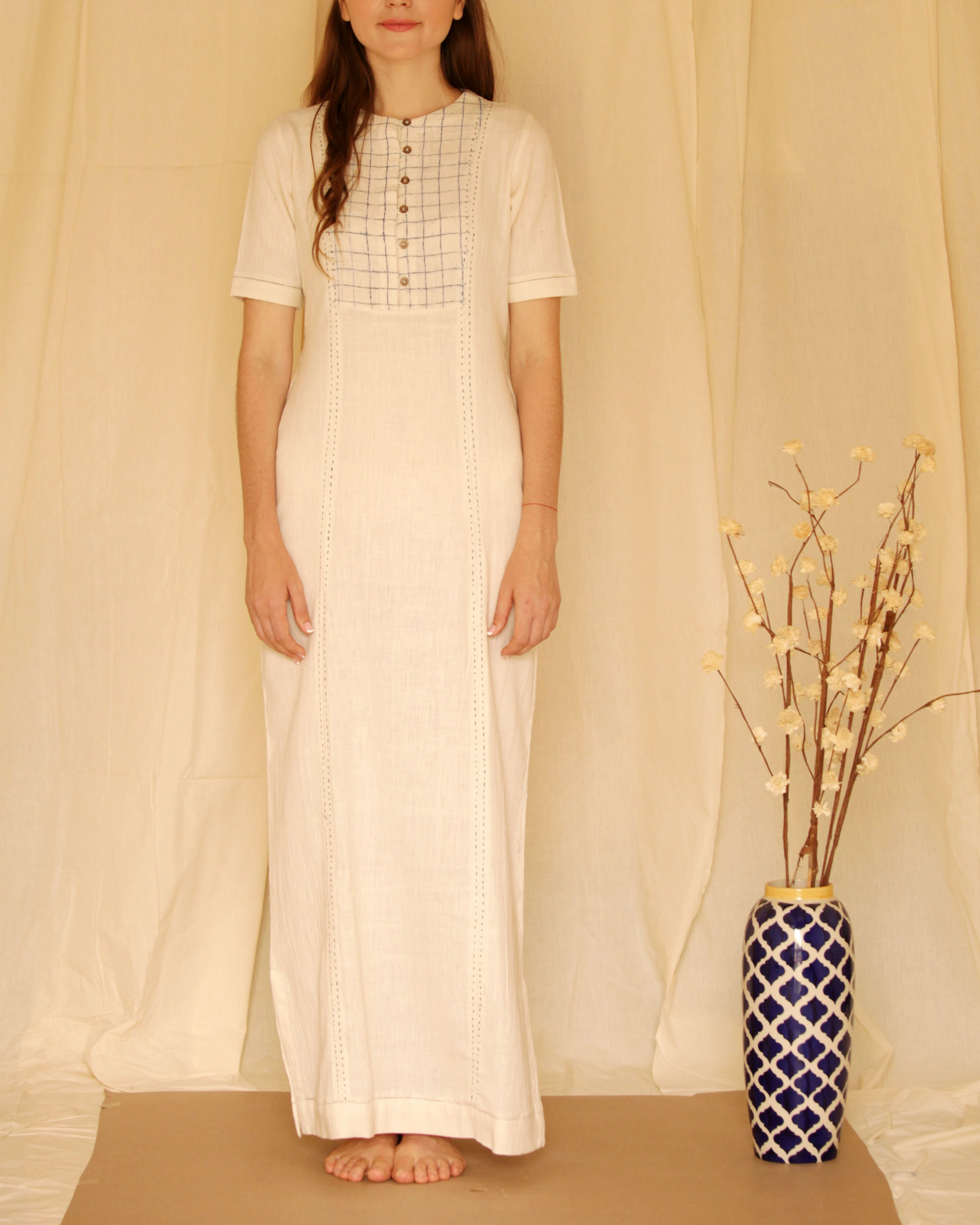 Printed yoke off-white maxi