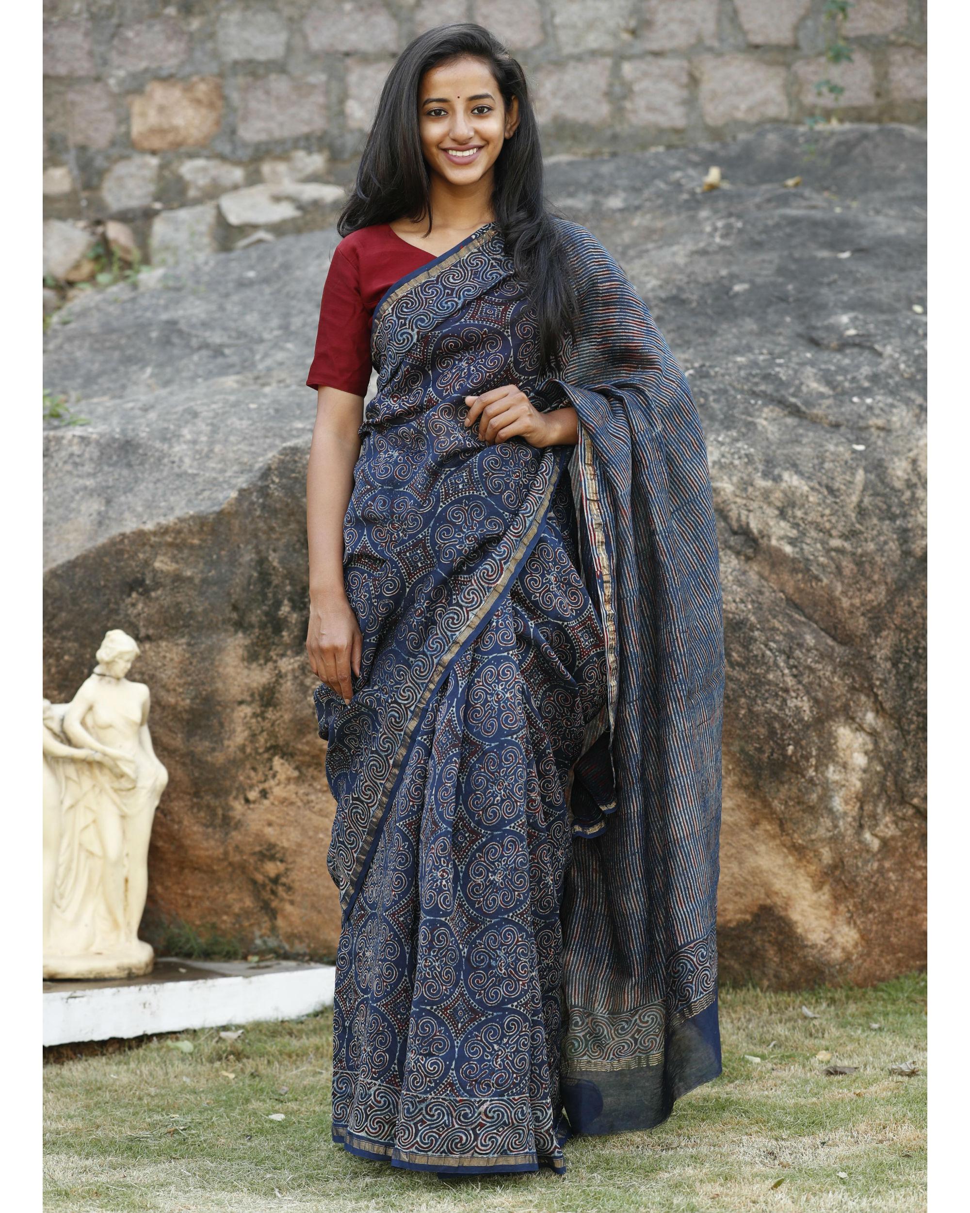 Indigo chanderi cotton sari