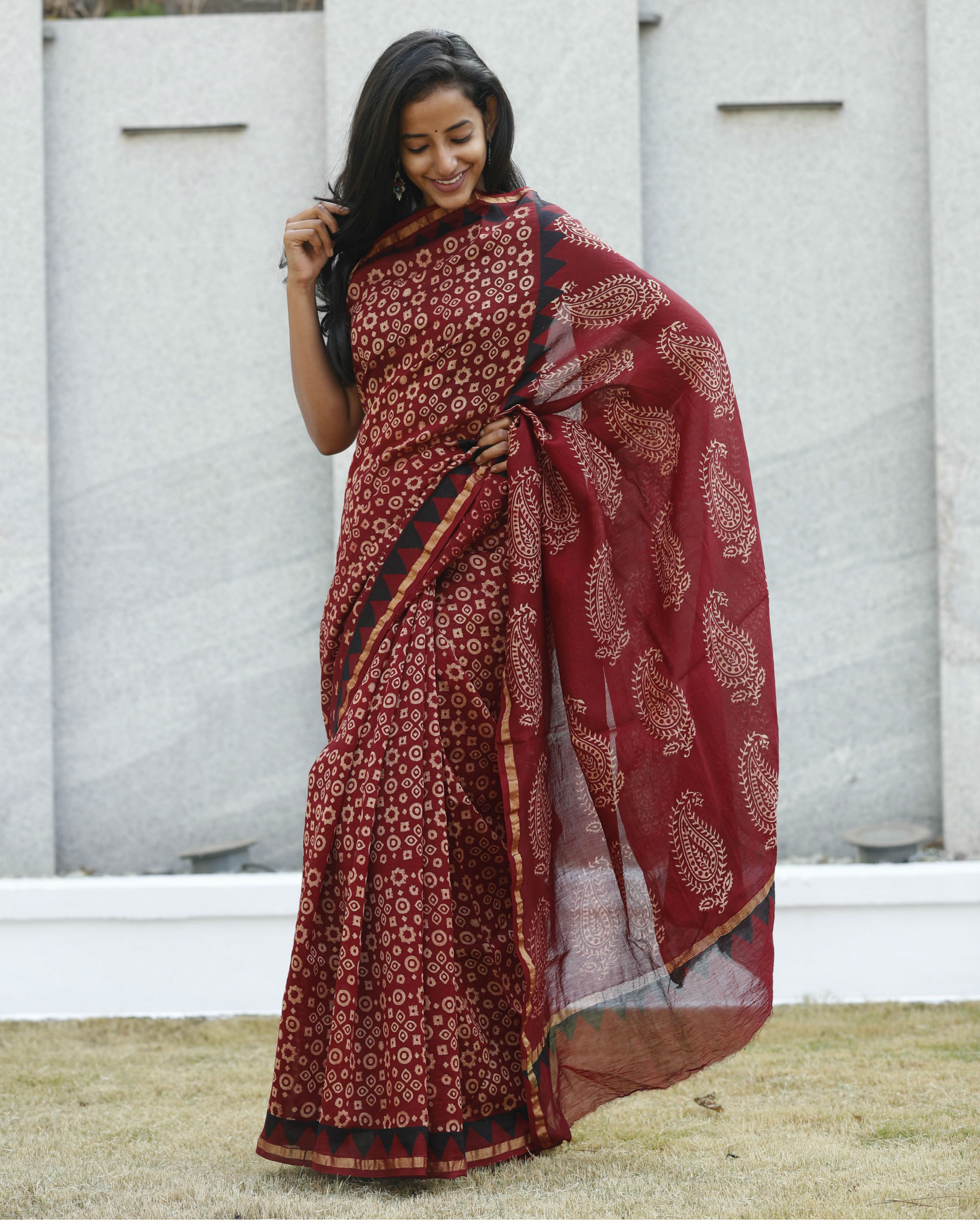 Cherry and garnet red sari