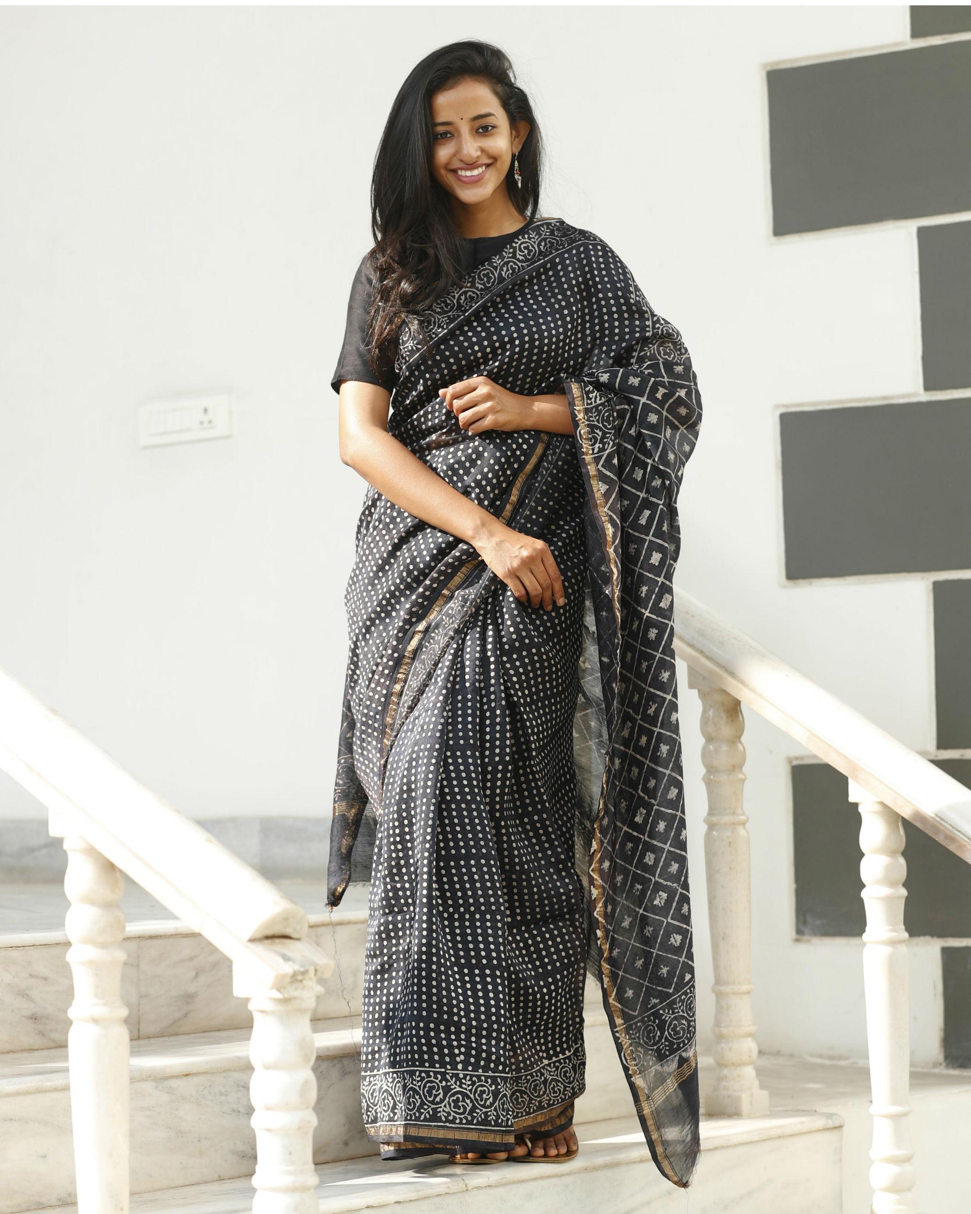 Black chanderi cotton sari