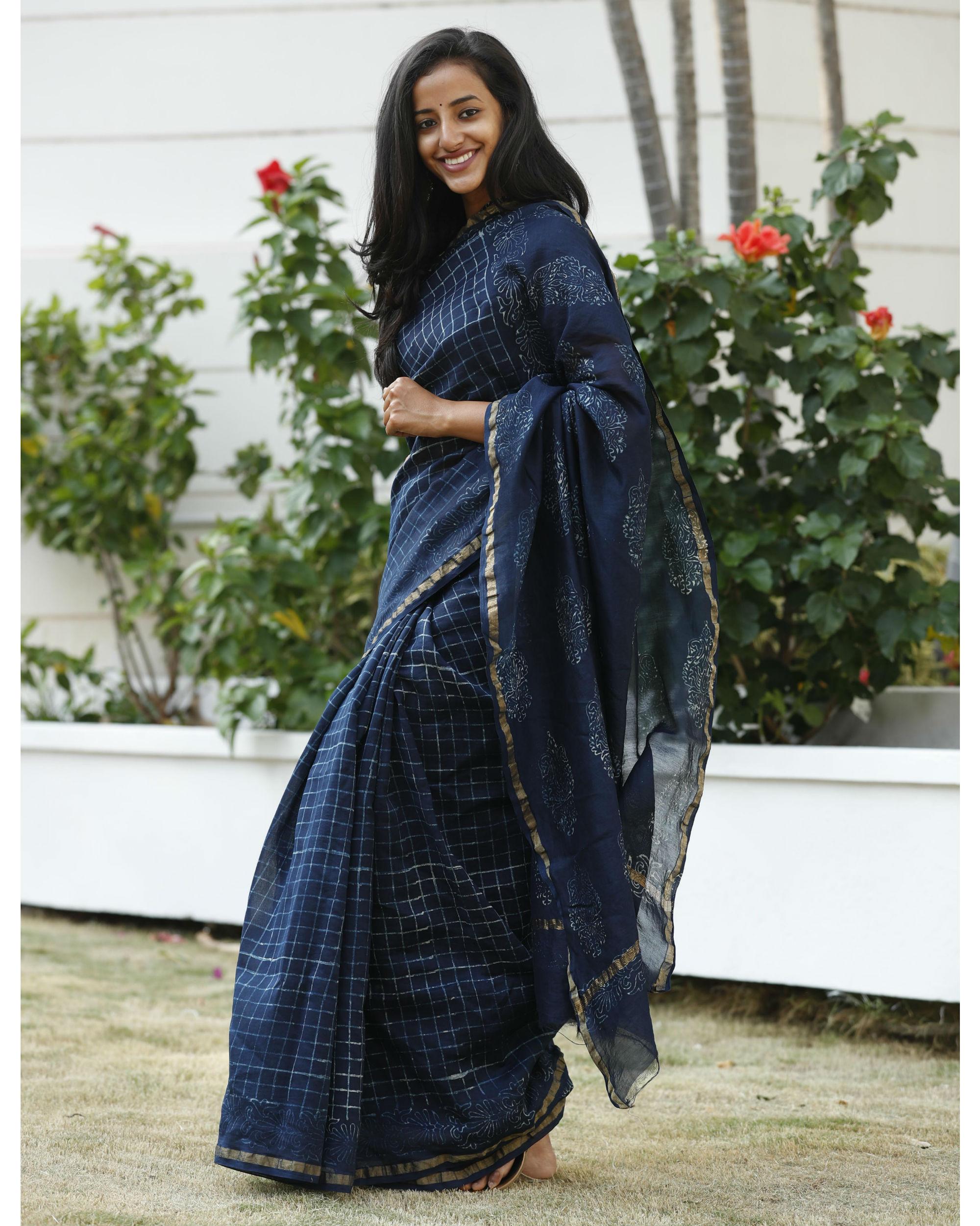 Indigo square chanderi cotton sari