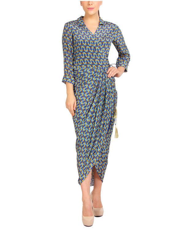 Blue collared dhoti dress