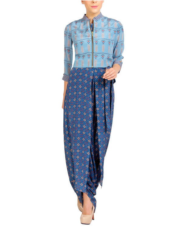 Printed blue jumpsuit with floral zipper jacket