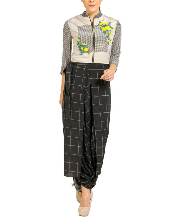 Black and white checkered jumpsuit with embroidered jacket
