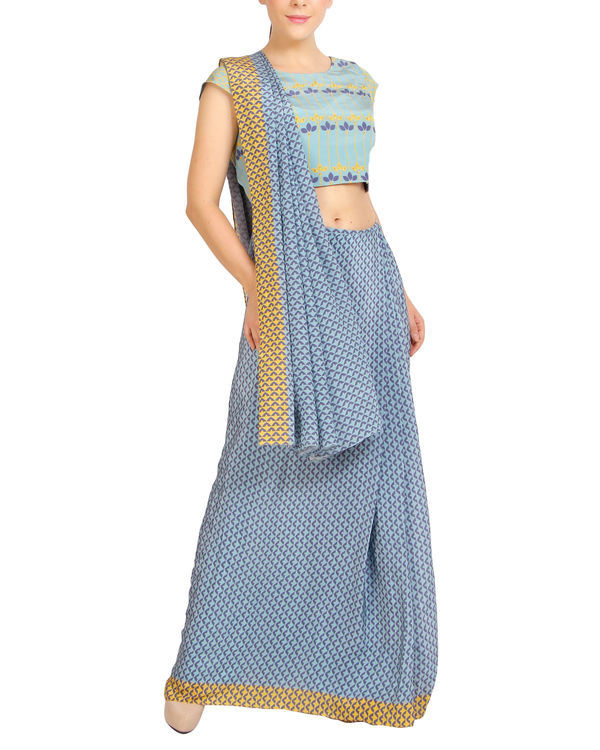 Blue scaled sari with cap sleeved blouse