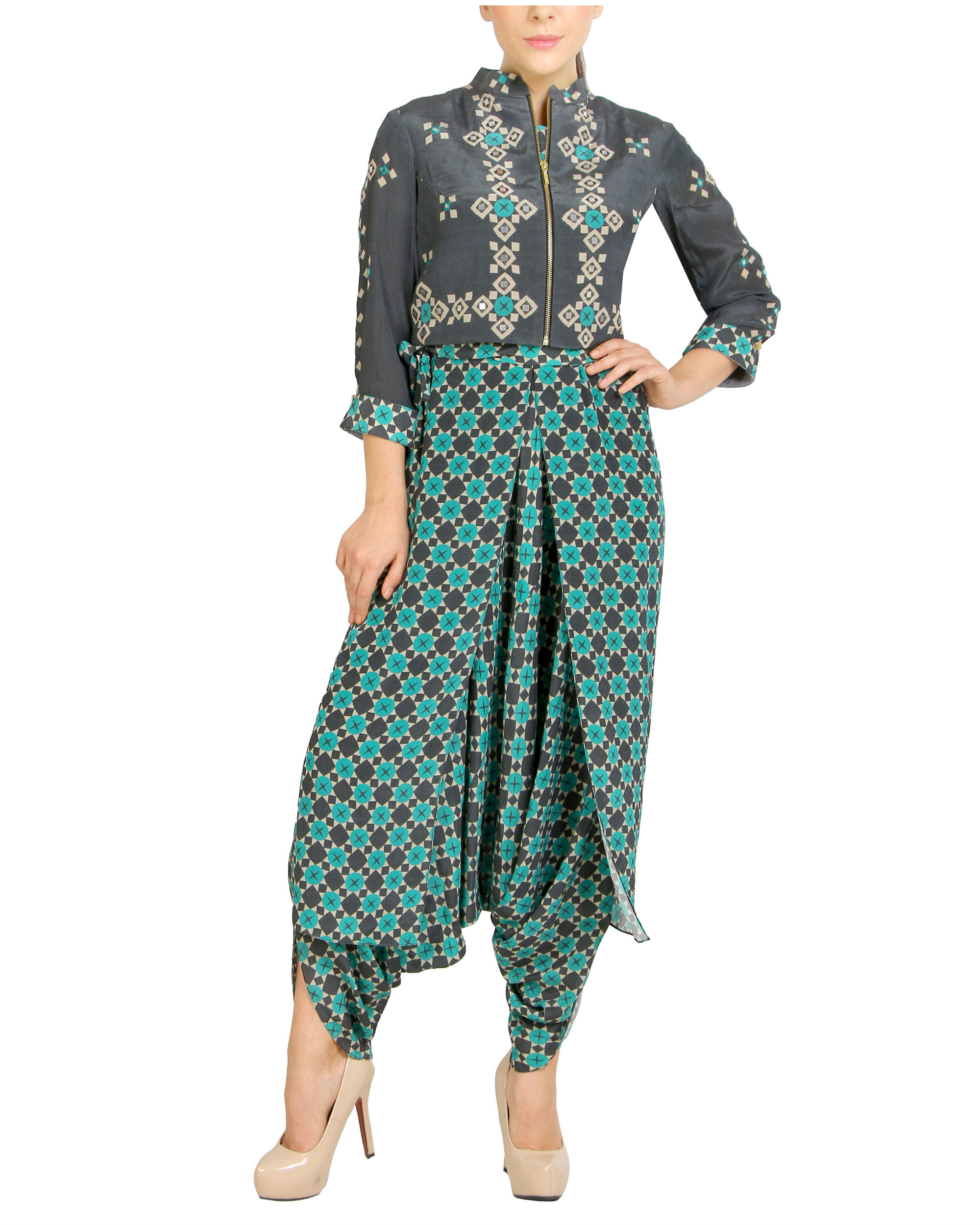 Checker green jumpsuit with zipper jacket