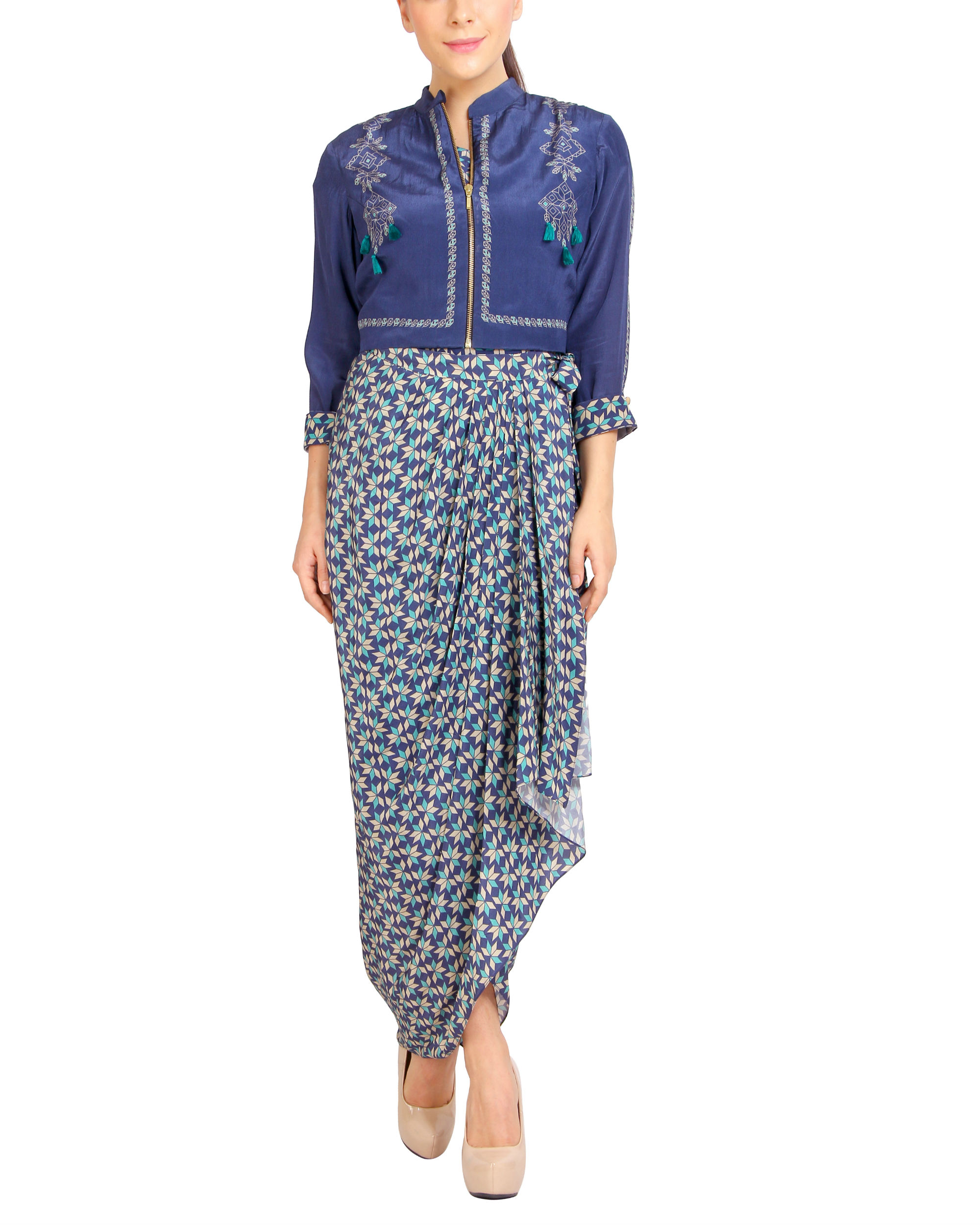 Blue pleated dhoti dress with a zipper jacket