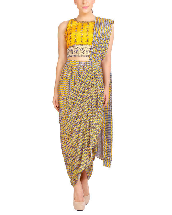 Printed yellow draped sari