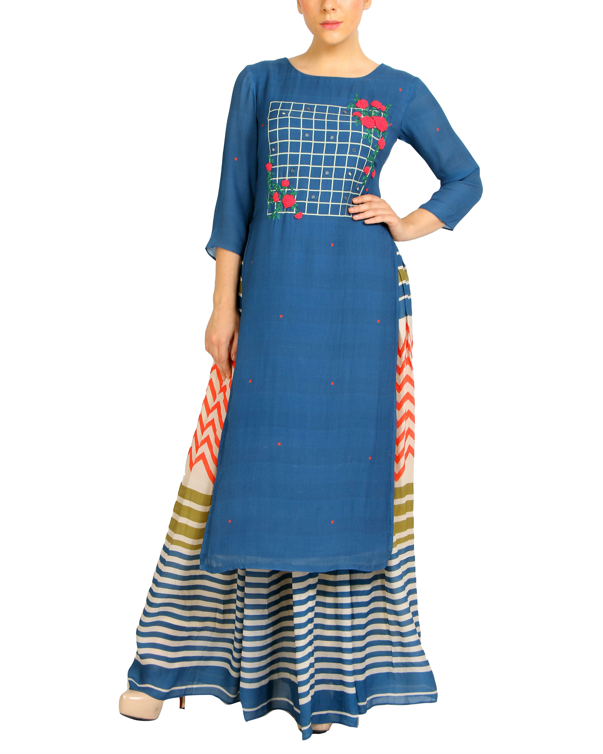 Embroidered blue striped kurta set