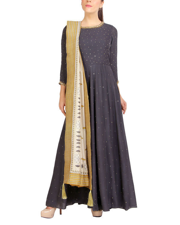 Charcoal sequins detailed dress with dupatta