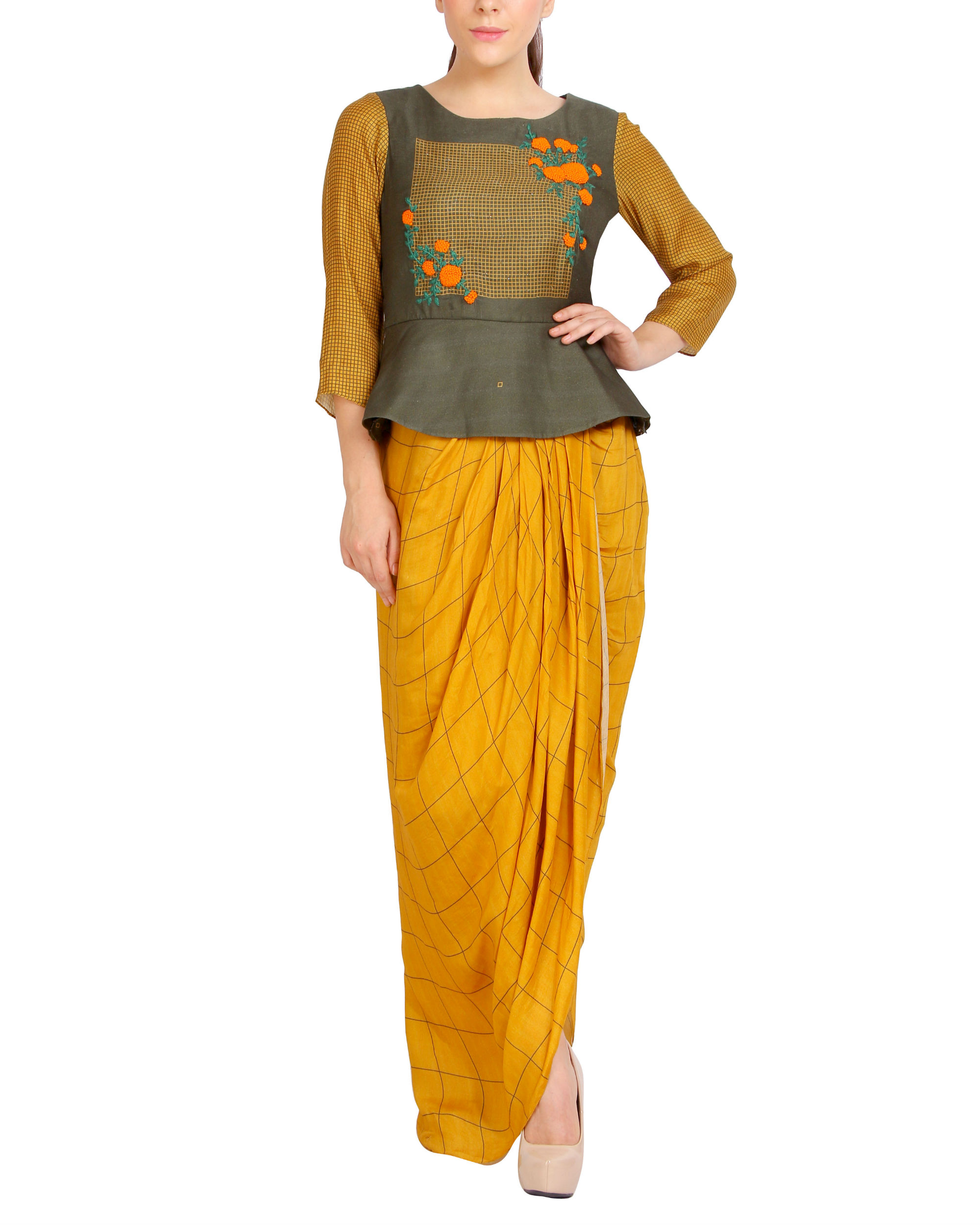 Green and mustard draped set