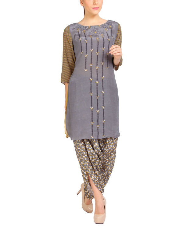 Mustard grey half and half kurta set