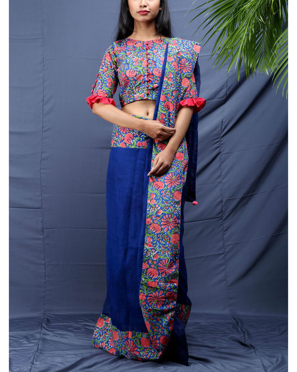Gulista block printed sari with unstitched blouse