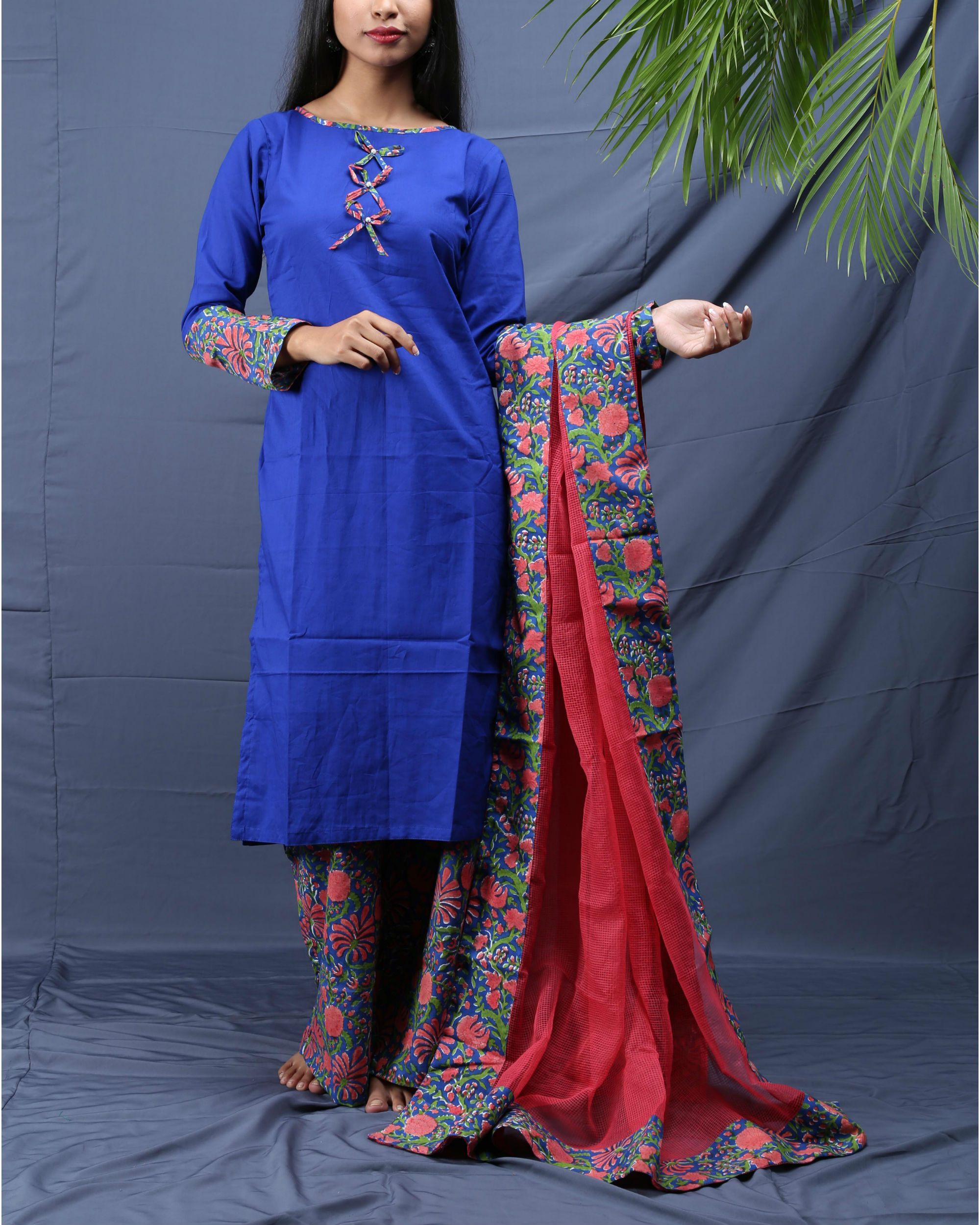 Panache block printed suit set