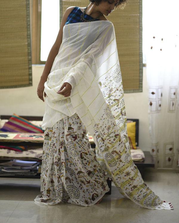 Off-white printed cotton sari