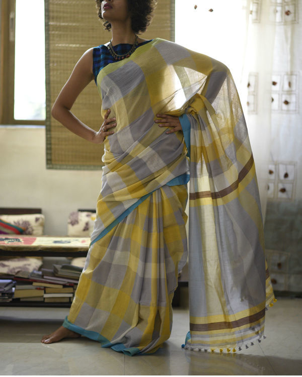 Mustard grey checkered sari