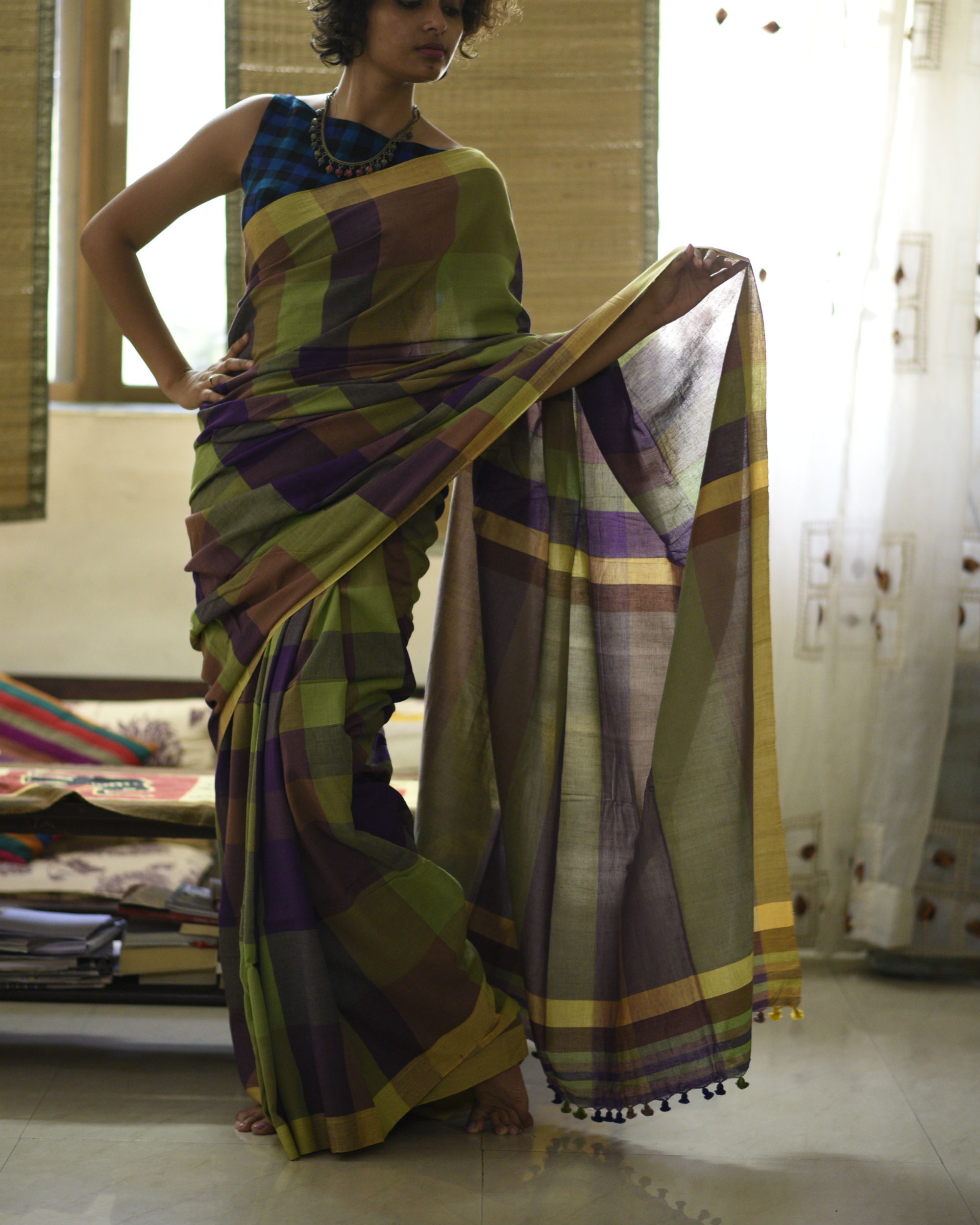 Purple green checkered sari