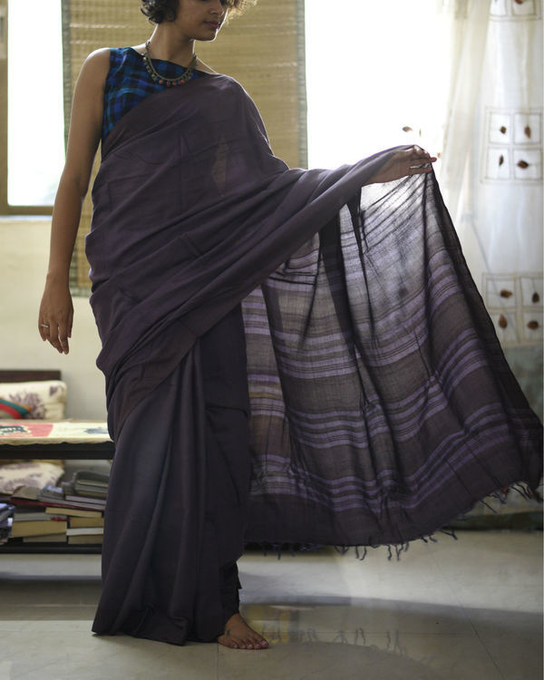 Purple striped pallu sari
