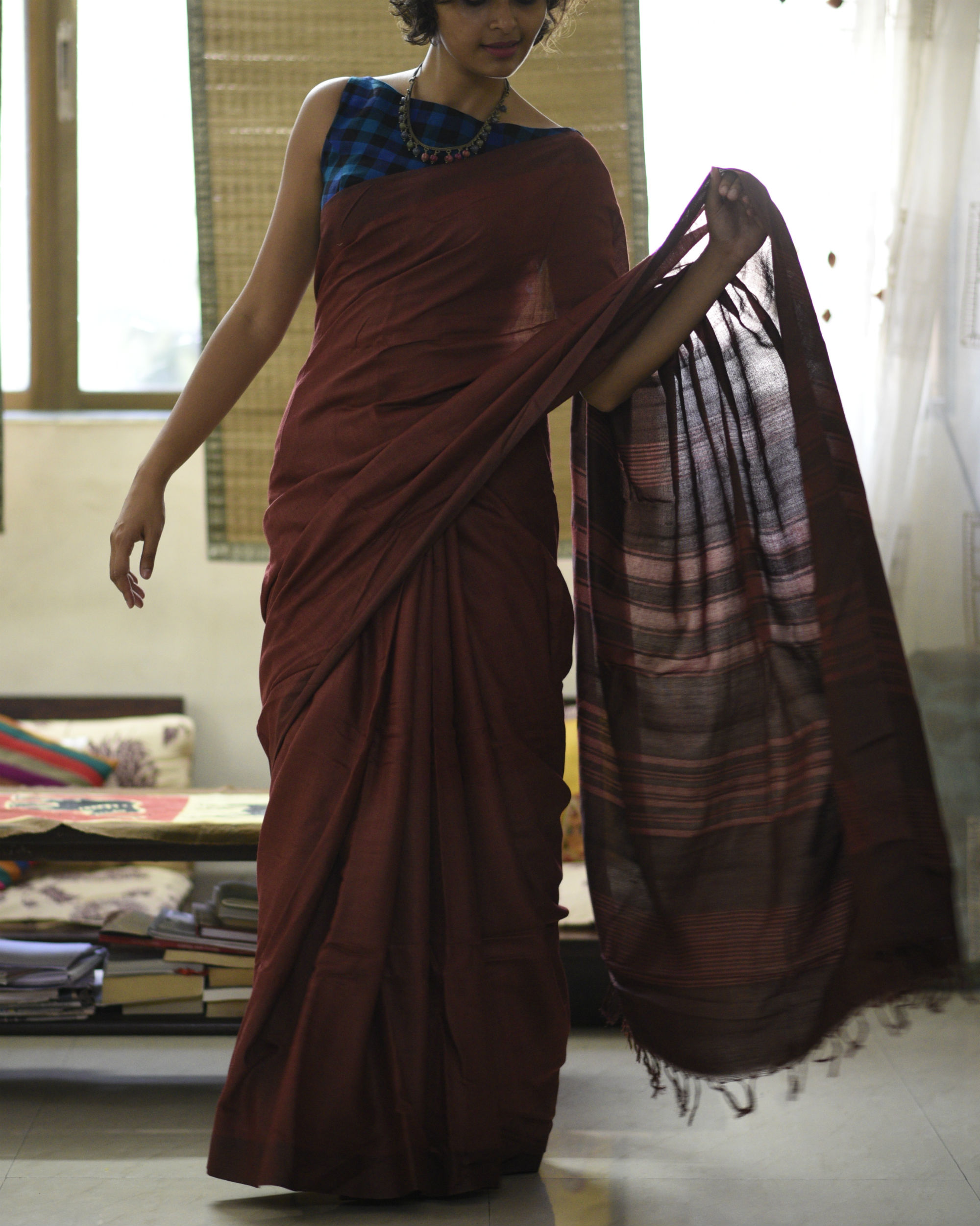 Maroon striped pallu sari