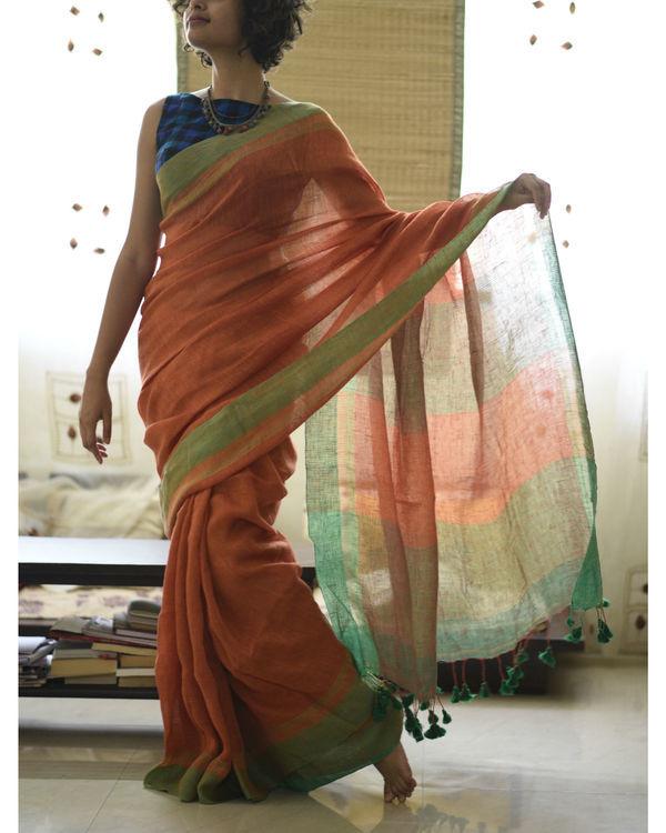 Orange green linen sari