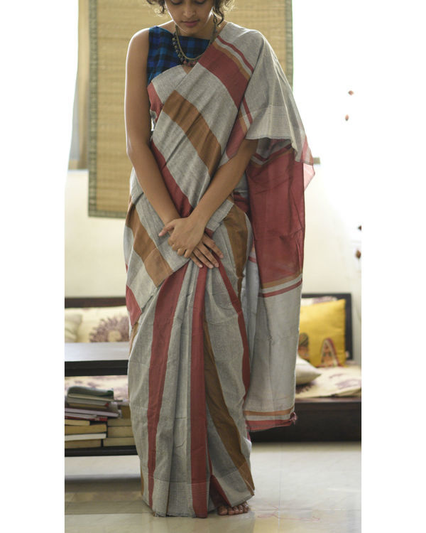 Maroon and brown stripes in grey sari