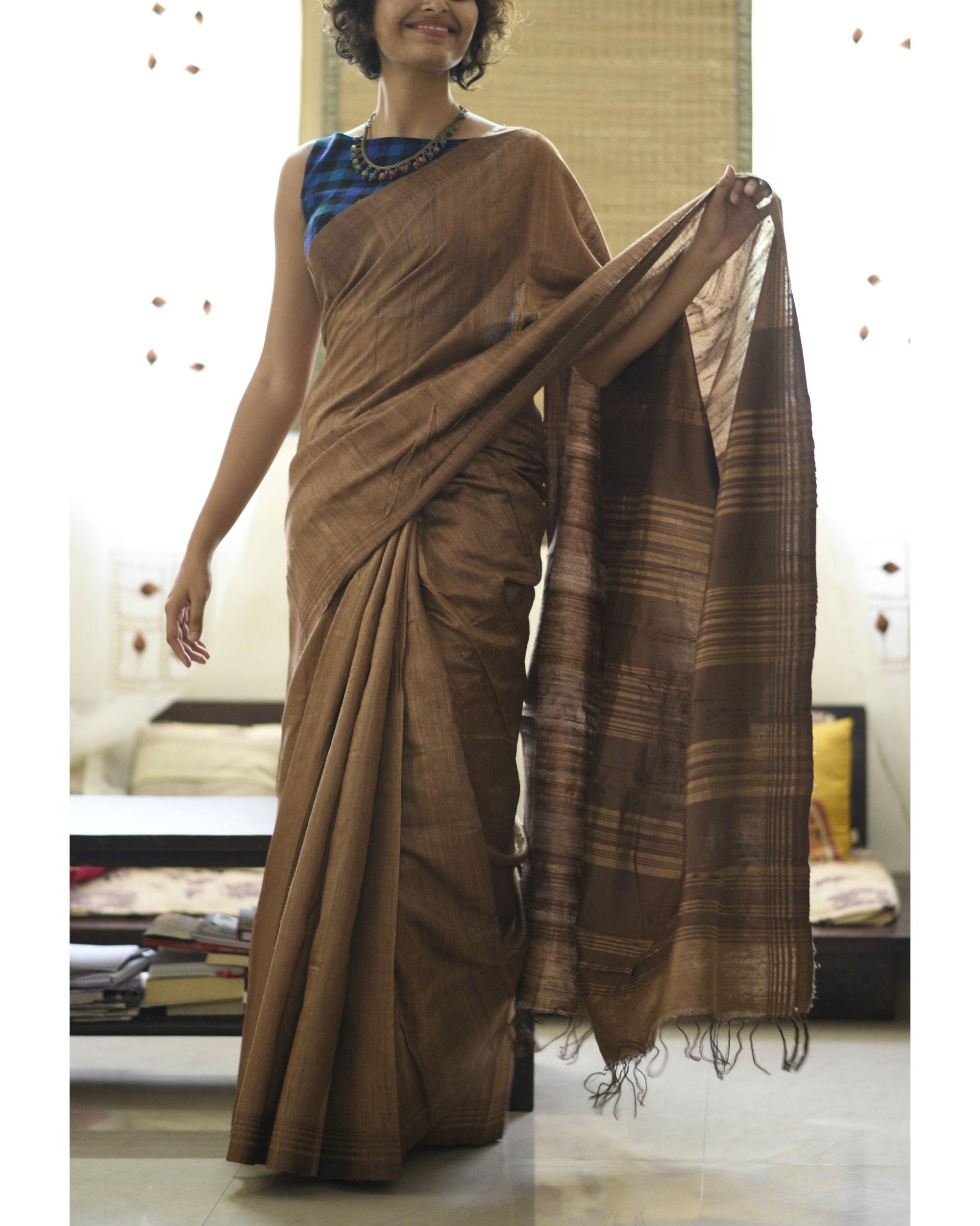 Tussar silk gingerbread sari