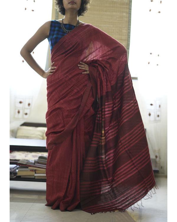 Tussar silk maroon rose sari