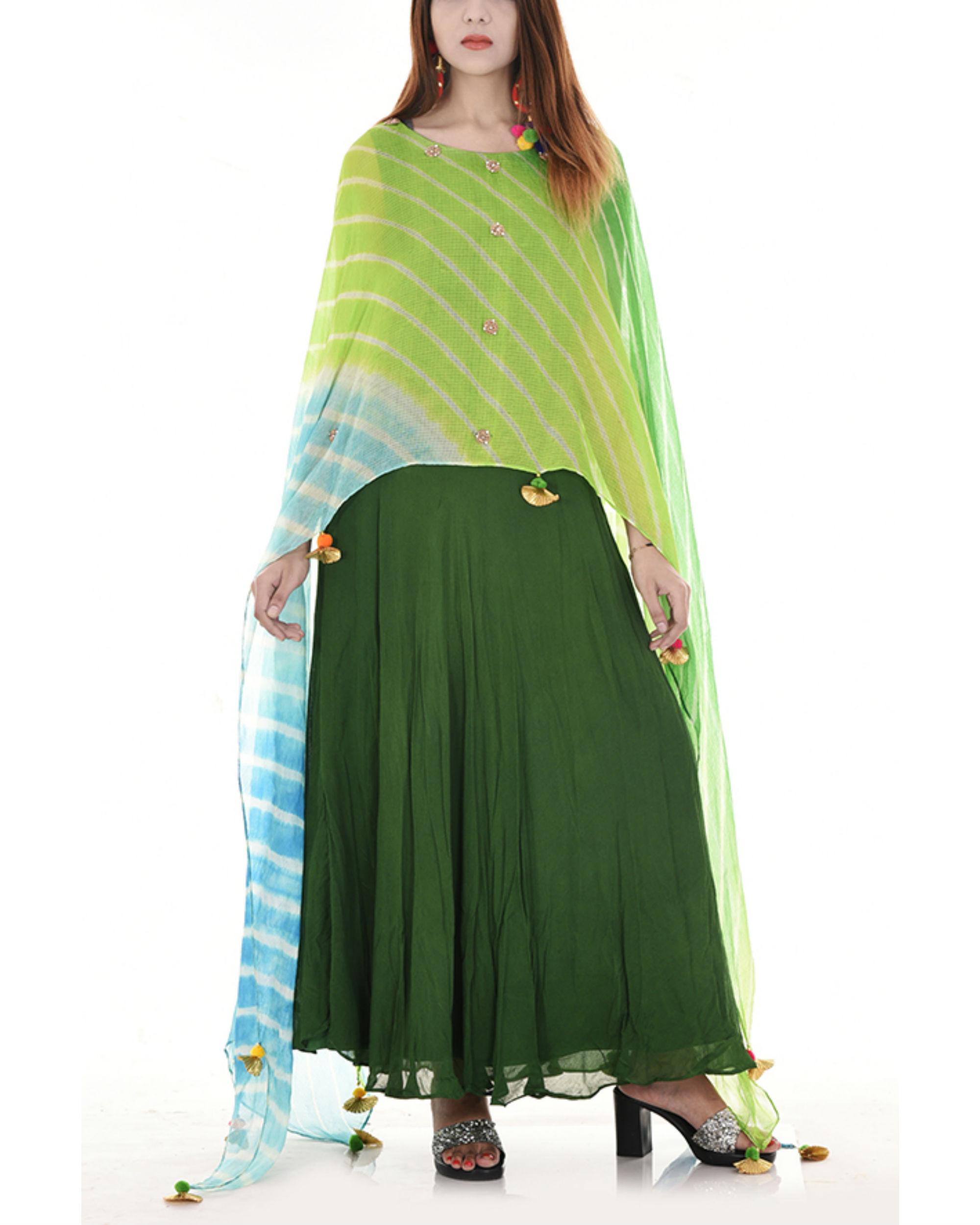 Green leheriya cape dress