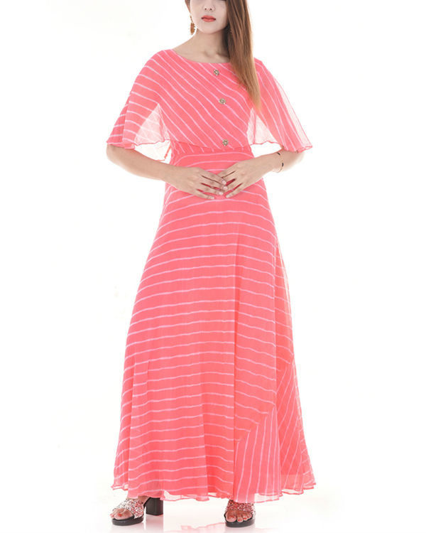 Pink leheriya cape dress