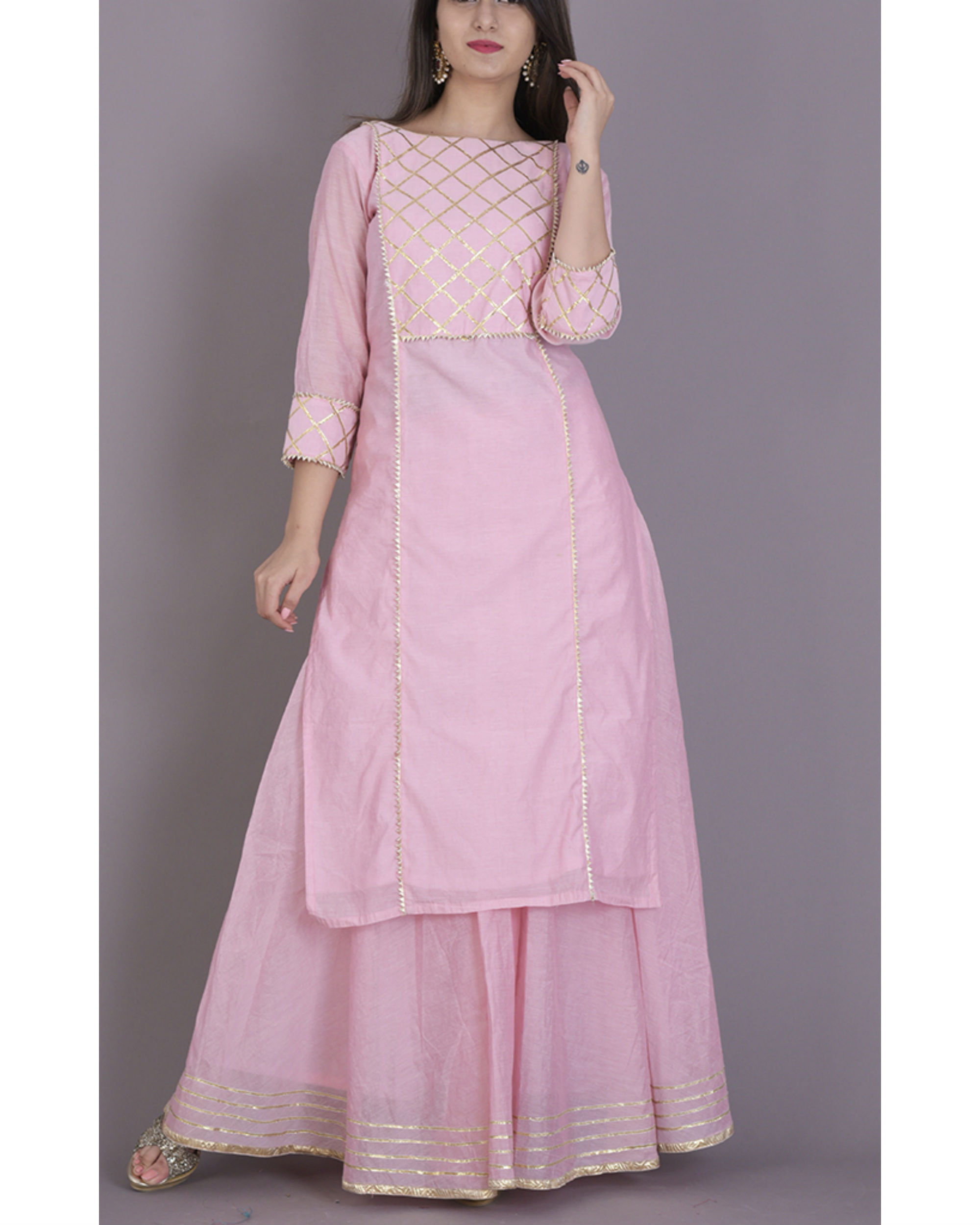 Baby pink gota kurta with flared skirt