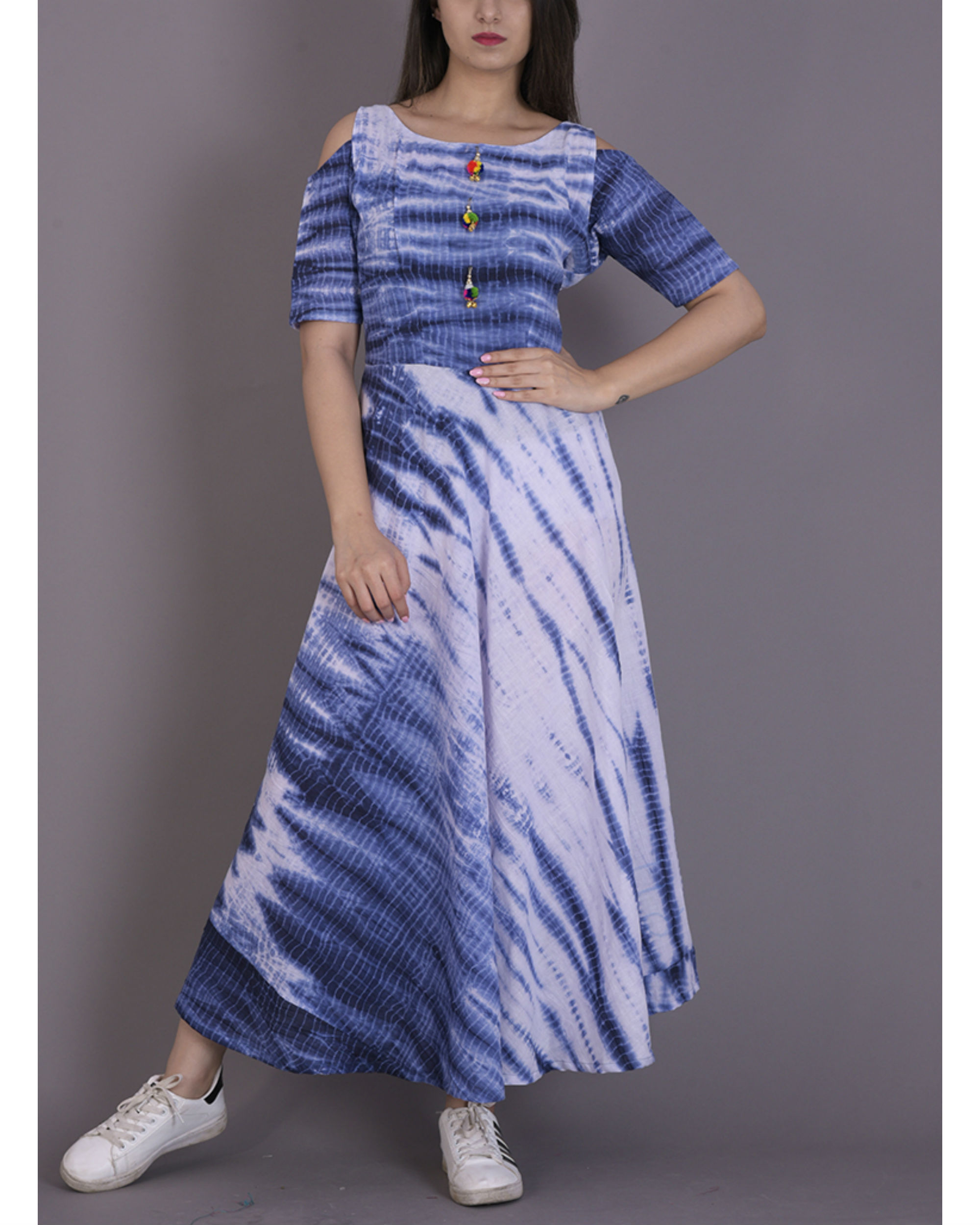 Blue tie and dye dress