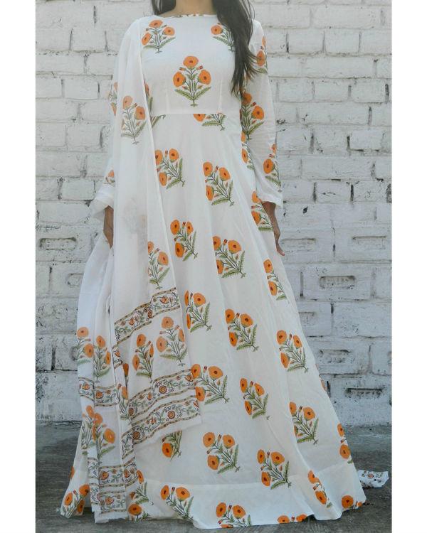 Orange block printed anarkali suit with dupatta