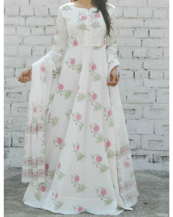 Dahlia pink block printed anarkali suit with dupatta