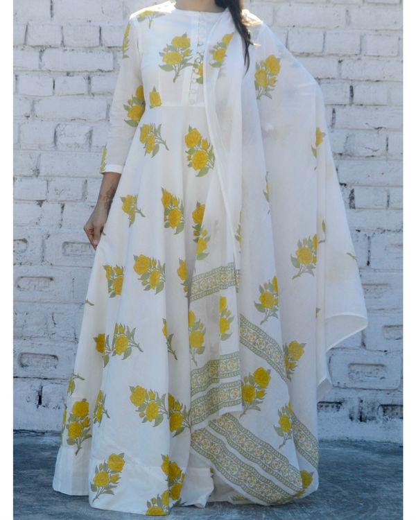Yellow rose block printed anarkali suit with dupatta